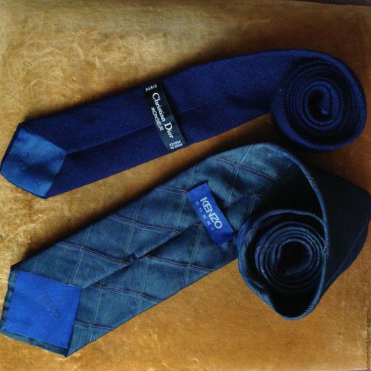 Винтажная одежда и аксессуары. Ярмарка Мастеров - ручная работа. Купить Галстуки Christian Dior и Kenzo. Handmade. Синий, галстук из шелка
