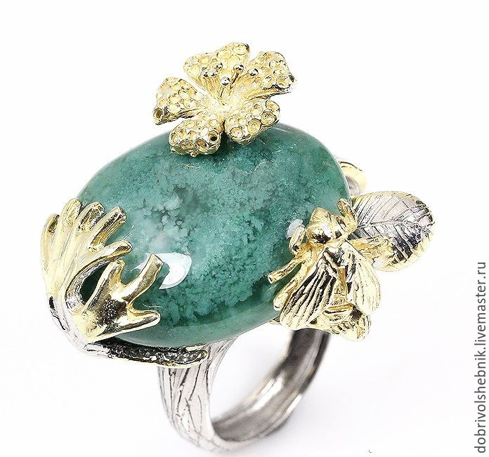Ring 'forest Gifts' with moss agate, Rings, Novaya Usman,  Фото №1