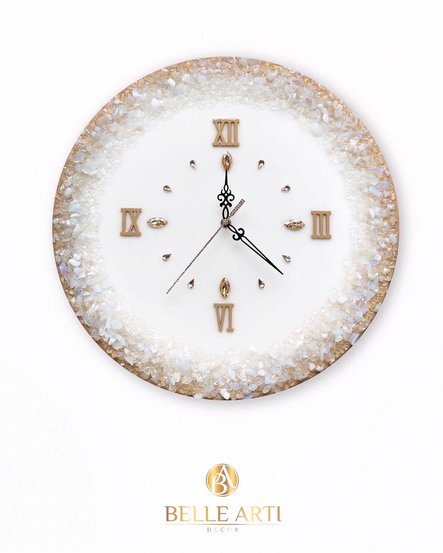 Глянцевые настенные часы эксклюзивного дизайна из натуральных камней, Часы классические, Москва,  Фото №1