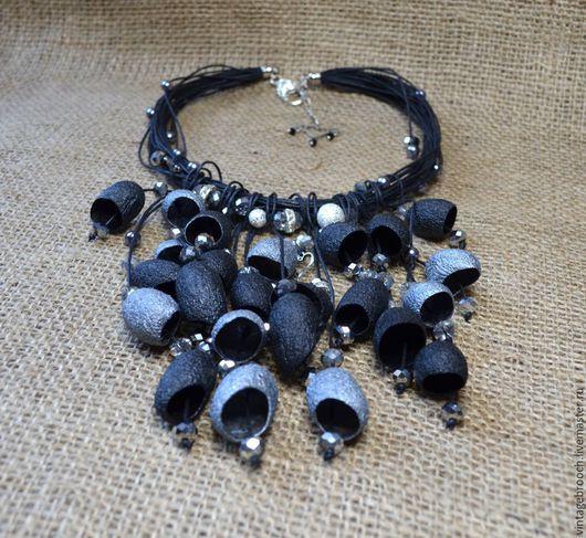 """Колье, бусы ручной работы. Ярмарка Мастеров - ручная работа. Купить Ожерелье из коконов шелкопряда """"Черный Ларец"""". Handmade. Черный"""