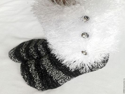 Носки, Чулки ручной работы. Ярмарка Мастеров - ручная работа. Купить Домашние носочки - сапожки. Handmade. Черный, носки вязаные