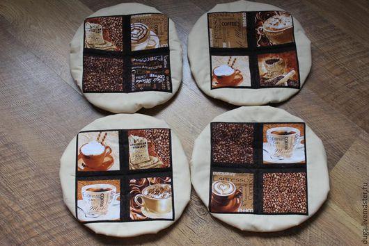 Кухня ручной работы. Ярмарка Мастеров - ручная работа. Купить Сидушка на круглый стул / табурет Чашка капучино № 415. Handmade.