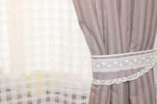 Текстиль, ковры ручной работы. Ярмарка Мастеров - ручная работа. Купить Льняные  шторы с подхватами. Тюль льняной. Handmade. Бежевый