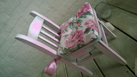 Стульчик бело-розовый #HandMade #ShabbyChic #шеби-шик #стулдлядетской