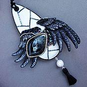 Украшения handmade. Livemaster - original item Pendant Black (DUO) beads, GIMP, pearls, silk, leather. Handmade.