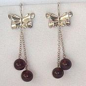Винтаж handmade. Livemaster - original item Amber Earrings Silver 875 star amber Beads Silver Bows. Handmade.