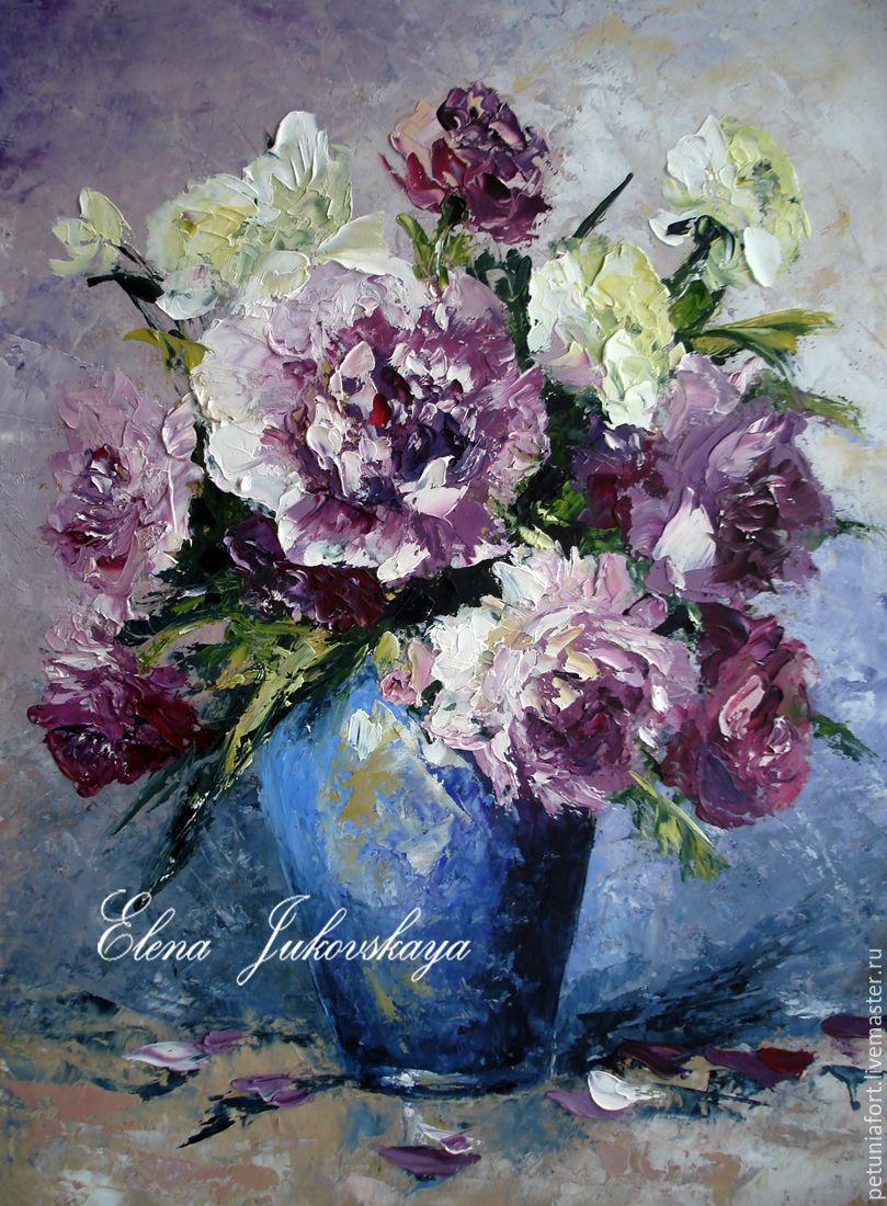 Картины мастихином маслом цветы