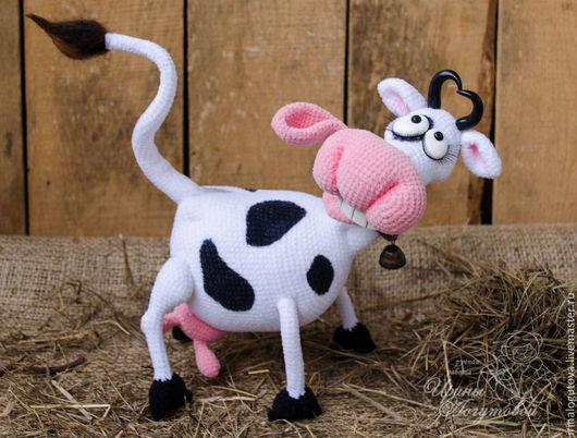 Игрушки животные, ручной работы. Ярмарка Мастеров - ручная работа. Купить Корова Крейзи. Handmade. Чёрно-белый, связано крючком