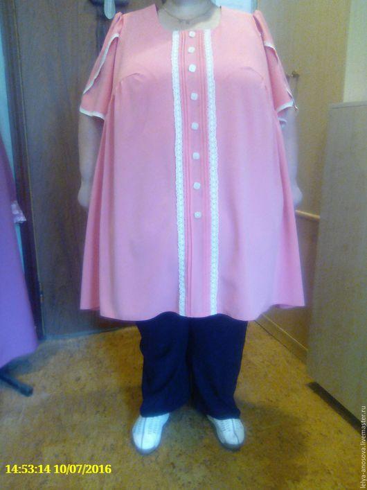 Большие размеры ручной работы. Ярмарка Мастеров - ручная работа. Купить Летний блузон из стрейч-льна большого размера.. Handmade.