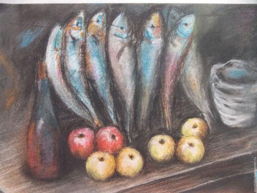 Натюрморт ручной работы. Ярмарка Мастеров - ручная работа. Купить Натюрморт с рыбой и яблоками.. Handmade. Черный, рыба, натюрморт, яблоки