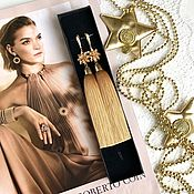 Украшения handmade. Livemaster - original item Earrings-brush Golden flower Golden beige pearls cubic Zirconia gold plated. Handmade.