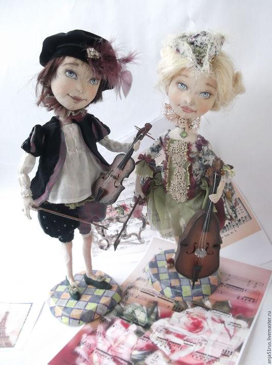Коллекционные куклы ручной работы. Ярмарка Мастеров - ручная работа. Купить Арлекина и Арлекин   проданы. Handmade. Салатовый, музыканту