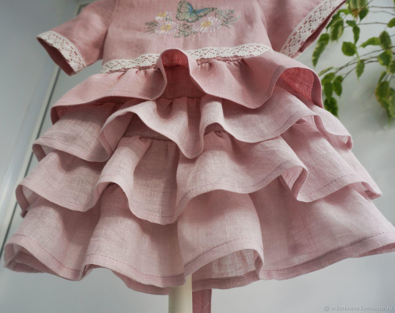 Детское платье лён с юбочкой воланами