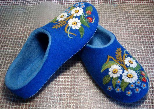 """Обувь ручной работы. Ярмарка Мастеров - ручная работа. Купить Домашние тапочки """"Летняя ночь"""". Handmade. Тёмно-синий"""
