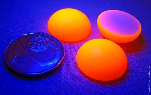 Кабошон круглый 18 мм, оранжевый неон