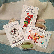Открытки handmade. Livemaster - original item A set of postcards with the symbol of the year 2018, the dogs. Handmade.