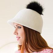 Аксессуары handmade. Livemaster - original item Zhokeyka cap with pompom. Color milk. Handmade.