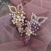 Диадемы ручной работы. Ярмарка Мастеров - ручная работа Цветочная заколка-зажим в розово-фиолетовых или бежевых оттенках. Handmade.