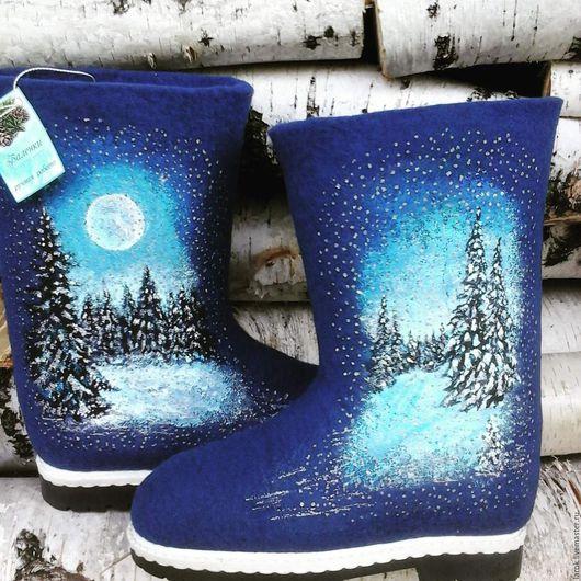 """Обувь ручной работы. Ярмарка Мастеров - ручная работа. Купить Валенки для улицы """"Снегопад"""".. Handmade. Тёмно-синий"""