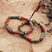 Украшения handmade. Livemaster - original item Set of ceramic bracelets in red-brown tones. Handmade.