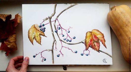 Пейзаж ручной работы. Ярмарка Мастеров - ручная работа. Купить Осенний виноград. Handmade. Оранжевый, осень, листья, виноград