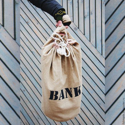 Мужские сумки ручной работы. Ярмарка Мастеров - ручная работа. Купить Рюкзак-мешок BANK. Handmade. Бежевый, лен, канат