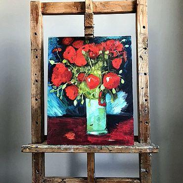 Картины и панно ручной работы. Ярмарка Мастеров - ручная работа Картины: Ваза с красными маками. Handmade.