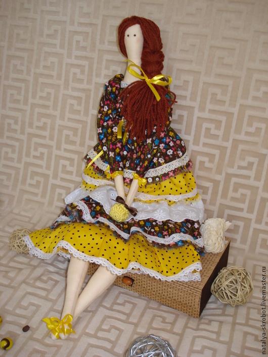 Куклы Тильды ручной работы. Ярмарка Мастеров - ручная работа. Купить Интерьерная кукла по мотивам Тильда. Handmade. Коричневый, оборки