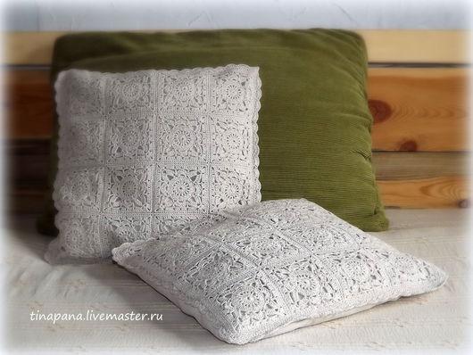 Текстиль, ковры ручной работы. Ярмарка Мастеров - ручная работа. Купить Наволочка на подушку декоративная. Handmade. Серый, узор, хлопок