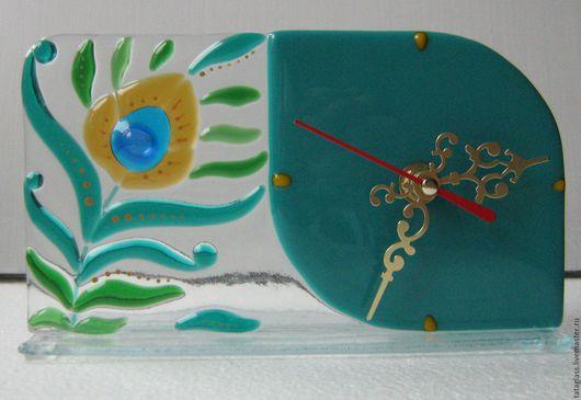 """Часы для дома ручной работы. Ярмарка Мастеров - ручная работа. Купить Часы настольные """"Перо павлина"""". Handmade. Часы настольные"""