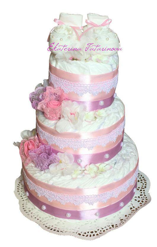 """Подарки для новорожденных, ручной работы. Ярмарка Мастеров - ручная работа. Купить Торт из памперсов """"Нежность"""". Handmade. Розовый, торт из памперсов"""