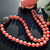 Украшения handmade. Livemaster - original item Red Coral beads RED AND BLACK author necklace. Handmade.