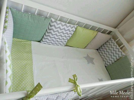 Для новорожденных, ручной работы. Ярмарка Мастеров - ручная работа. Купить Бортики подушки в кроватку. Handmade. Детские бортики, одеялко