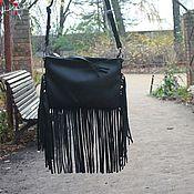 Сумки и аксессуары handmade. Livemaster - original item Shoulder bag leather Fringe black. Handmade.