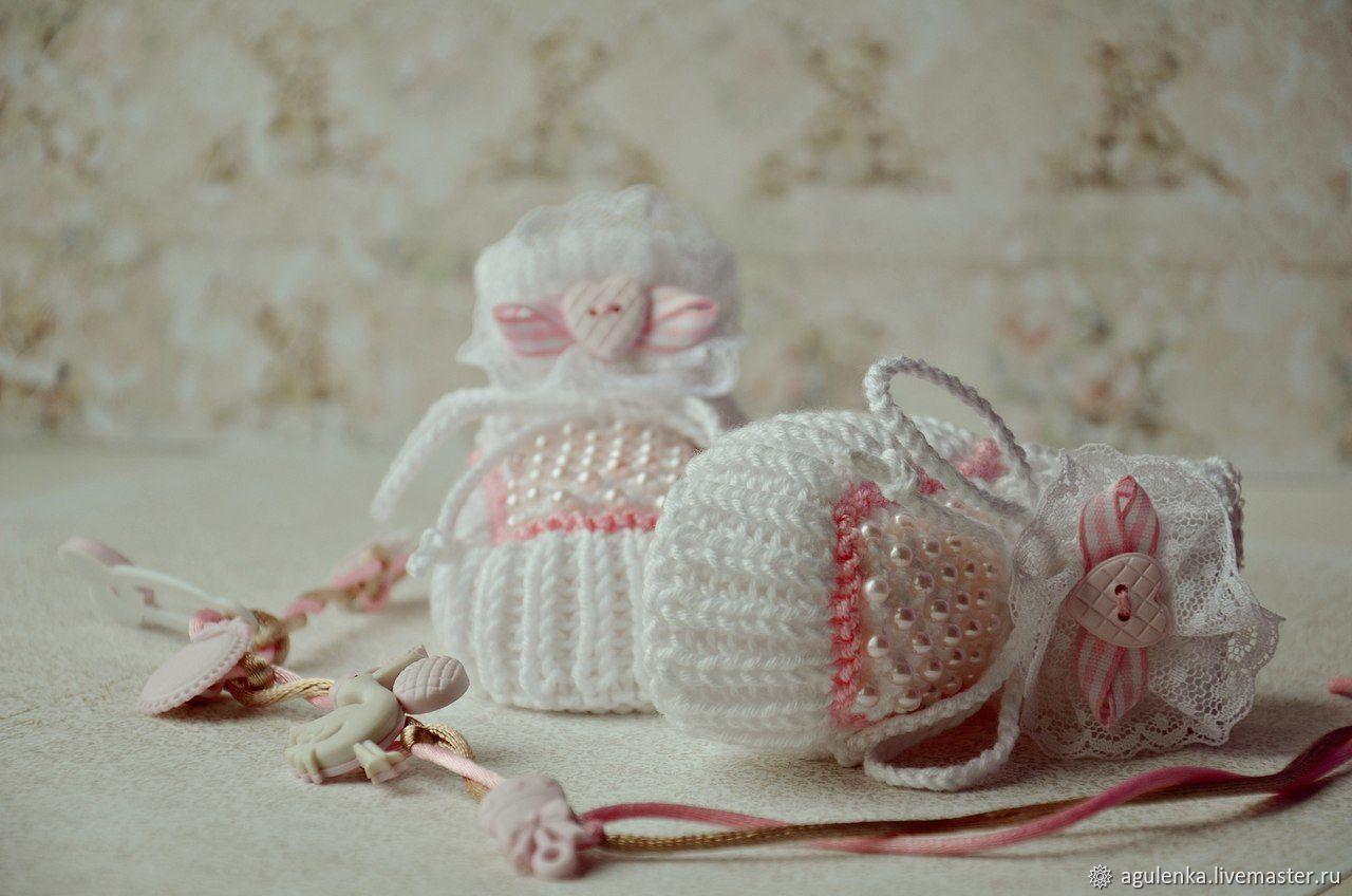 Пинетки с бусинами вязаные ручной работы, белый, розовый, Пинетки, Петрозаводск,  Фото №1