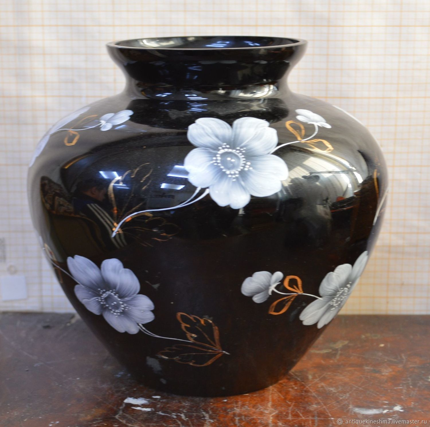 Flower vase manganese glass hand painted, Vintage interior, Kineshma,  Фото №1
