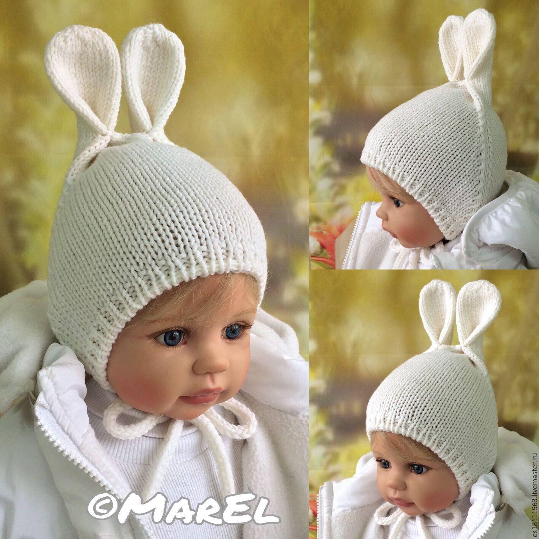 Вязание шапочки с ушками для новорожденного мальчика 51