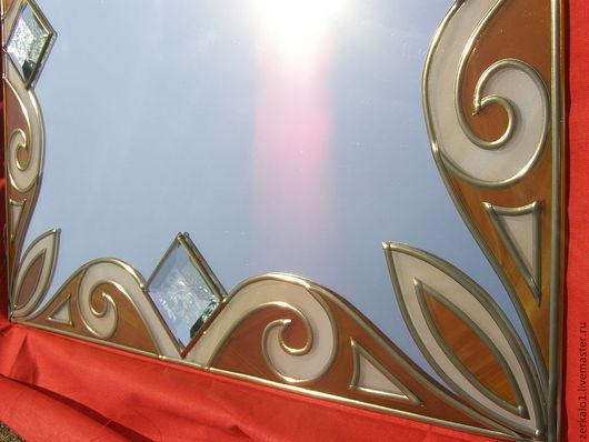 """Зеркала ручной работы. Ярмарка Мастеров - ручная работа. Купить Зеркало с декором """"Орнамент"""". Handmade. Зеркало, пленка, пленочный витраж"""