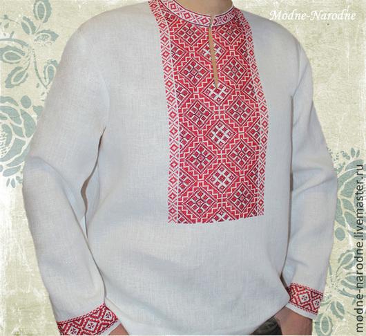 Льняная сорочка с ручной вышивкой Ясень-Красень. Модная одежда с ручной вышивкой. Творческое ателье Modne-Narodne.