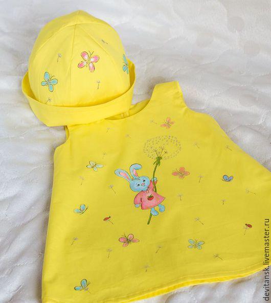 """Одежда для девочек, ручной работы. Ярмарка Мастеров - ручная работа. Купить Детское платье для девочки """"Зайка"""". Handmade. Желтый, платье"""