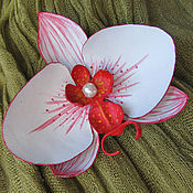 Украшения handmade. Livemaster - original item brooch made of leather. Leather flowers. Orchid.. Handmade.