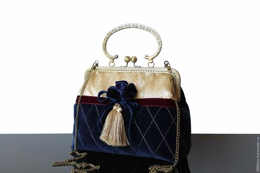 Женские сумки ручной работы. Ярмарка Мастеров - ручная работа. Купить Винтажный стиль, сумочка из бархата, синяя сумка, золото, брошь. Handmade.
