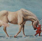 Картины и панно handmade. Livemaster - original item Painting with a child the Way home oil painting. Handmade.