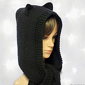 Аксессуары handmade. Livemaster - original item Hood-scarf with Cat ears knitted women`s black. Handmade.
