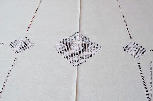Центр скатерти. Лён, белая скатерть с мережками, строчевая вышивка белым по белому, праздничная скатерть для стола, украшение интерьера в русском стиле, скандинавский стиль, белый интерьер, прямоуголь