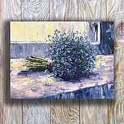 Картины и панно handmade. Livemaster - original item Oil painting with forget-me-nots. Handmade.
