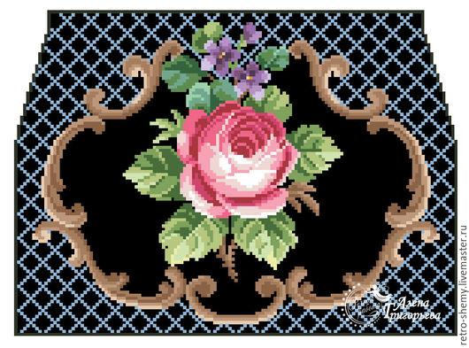 """Вышивка ручной работы. Ярмарка Мастеров - ручная работа. Купить Схема вышивки сумочки """"Роза и фиалки"""". Handmade. Схема для вышивки"""