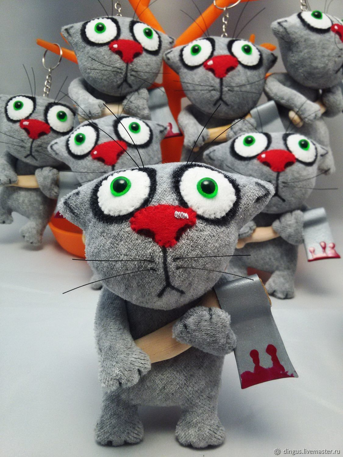 He first started! Keychain grey cat with an axe by Vasya Lozhkin, Stuffed Toys, Moscow,  Фото №1