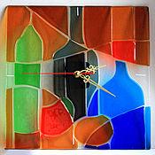 """Для дома и интерьера ручной работы. Ярмарка Мастеров - ручная работа Часы """"Натюрморт """". фьюзинг. Handmade."""