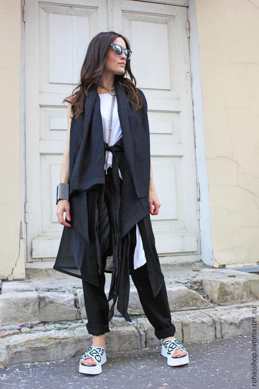 R00028 Кардиган черный из льна без рукавов, стильный жилет льняной. Городской стиль для повседневной жизни